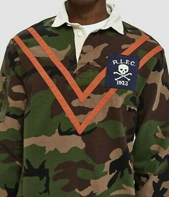 8185cb42b Polo Ralph Lauren Men Military Army Camo Skull Skeleton Soldiers Chevron  Shirts