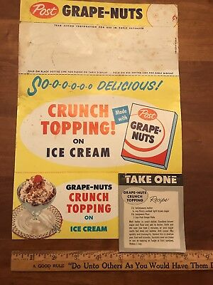 Vintage Post Grape Nuts Original In Store Advertising 1940-1950's cereal promo
