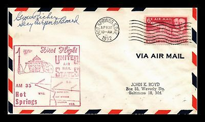 Dr Jim Stamps Us Cover First Flight Am 35 N 20 Hot Springs Rapid City Air Mail