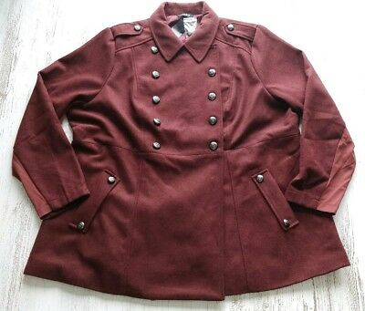 e9226a7378b Torrid Coat Size 3 3X Brown Red Double Breasted Military NEW NWT plus size