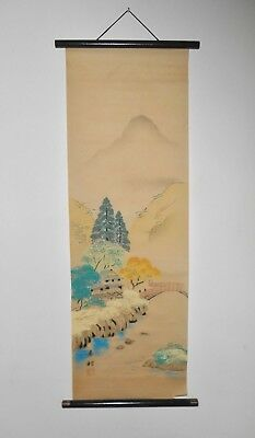 Signed Antique Vintage Japanese Hand Painted Paper Wall Hanging Scroll Painting