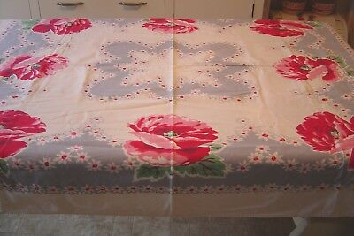 "VINTAGE COTTON KITCHEN FARMHOUSE TABLECLOTH 42""x52"" LARGE RED CABBAGE ROSES GRAY"