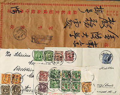Lot 4 old Cover Belege China Germany SHANGHAI TIENTSIN SOOCHOW Reg. Letter