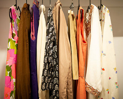 10 item Vintage clothing lot, dresses, tops and skirt 60s 70s 80s s/m