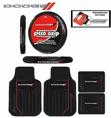 5 PC Dodge Elite Front/Rear Rubber Floor Mats W/ Steering Wheel Cover Fast Ship