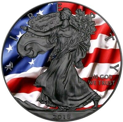2018 USA $1 US PATRIOTIC FLAG WALKING LIBERTY 1 Oz Silver Coin, Ruthenium.