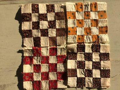 ~Back In Time Textiles~ 4 Antique early to mid 1800's Quilt blocks doll quilts~