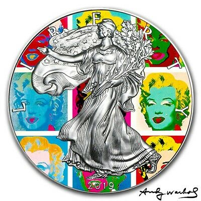 2019 USA $1 MODERN ART ANDY WARHOL  MARILYN WALKING LIBERTY 1 Oz Silver Coin..