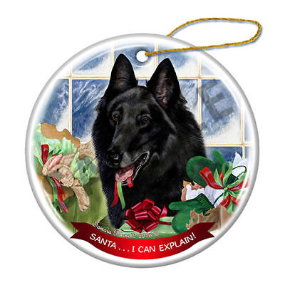 Belgian Shepherd Howliday Porcelain China Dog Christmas Ornament H2