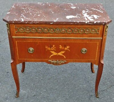 FRENCH Louis XV Style Bronze INLAID Marble Top Night Stand Commode Side Table
