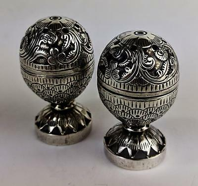 INDIAN KUTCH SMALL Antique SILVER CRUET SET c1890