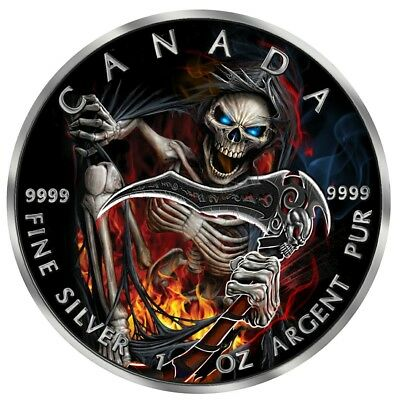 2018 $5 Canadian Maple Leaf APOCALYPSE GRIM REAPER lll 1 Oz Silver Coin.