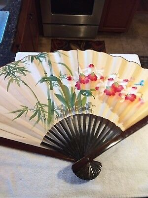 "Large 26"" Oriental Vintage Hand Painted Chinese Fan with lacquered bamboo stays"