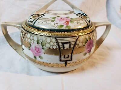 Antique NIPPON Hand Painted Beaded gold COVERED SUGAR BOWL Roses and two handles