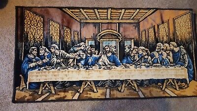 "VTG Velvet Tapestry Rug Wall Hanging ""The Last Supper"" Italy 20x38 THICK!!"