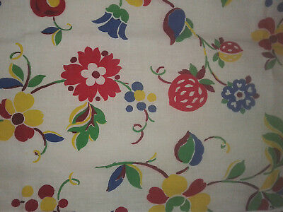 4 PR vintage 30s 40s ANTIQUE PA Dutch motif FLOWERS & FRUIT kitchen curtains