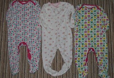 Baby Girls Sleepsuits 9-12 months MINI CLUB / TU elephant floral hearts x3