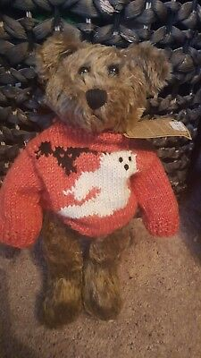 "Boyds Halloween Teddy Bear ~  Gus Ghoulie ~  12"" Bear In  Knit Ghost Sweater Nwt"