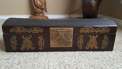 Vintage Chinese Large Leather and Wood  Box