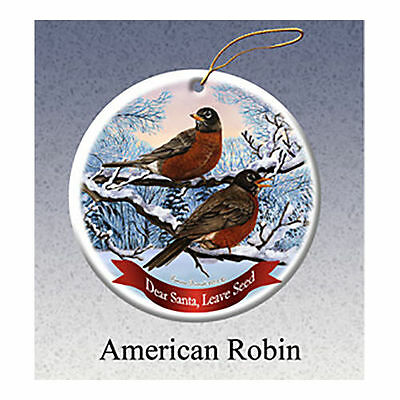 American Robin Howliday Porcelain China Dog Christmas Ornament
