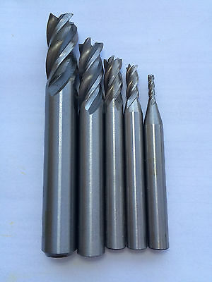 End mill set: 2mm, 4mm, 6mm, 8mm, 10mm HSS NEW
