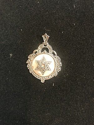 Vintage HANDMADE Sterling Silver and Mother pearl,the Star Of David Pendant