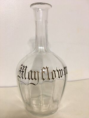 1900s Mayflower ADVERTISING WHISKY ANTIQUE GLASS CARAFE DECANTER Gold Writing
