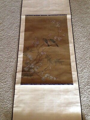 Vintage Asian Silk/Paper Scroll Painting with Cherry Blossoms Asian Art