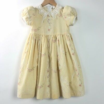 Daisy Kingdom Size 4T Dress Vintage Victorian Yellow White Floral ReaD Girl's