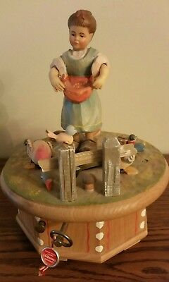"Big Vintage Anri Girl with Geese Music Box w/ Motion,  Plays ""Never on a Sunday"""