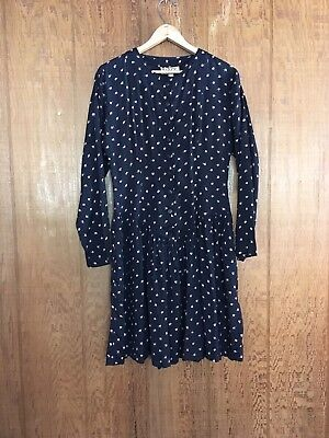 Vtg 80s Black Pink Rose Bud Viscose Button Down Long Sleeve Mini Dress Spicy S