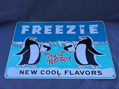 Old Try It Now Freezie Frozen Drink Large Tin not soda Advertising Sign