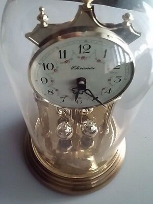 "Vintage Clock  ""chronos"" With Glass Dome Made In Germany"