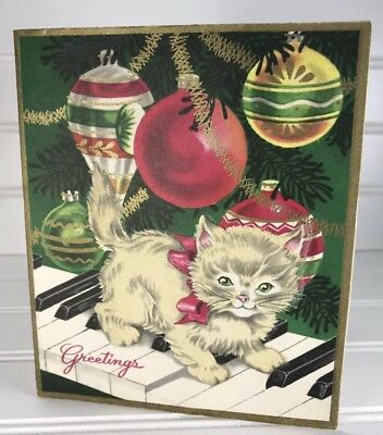 VTG White Grey Kitten Cat Xmas Greeting Card Piano Indent Mcm Ornaments Cute