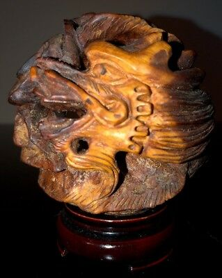 """Vintage Hand Carved Wooden Asian Japanese Curled Dragon 4"""" Tall with Base"""