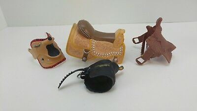 Lot of 4 Toy Model Horse Saddles all Different Styles Western English plastic