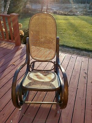 VINTAGE THONET STYLE CANE BENTWOOD ROCKING CHAIR * MADE IN ITALY - Ends Soon