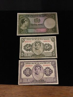 Lot of 3 circulated banknotes Luxembourg 10, 5, 50 Franc notes