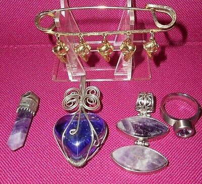 Vintage Jewelry Lot Of Pendants, Ring, Mothers Pin, Crystal Sterling Pendant