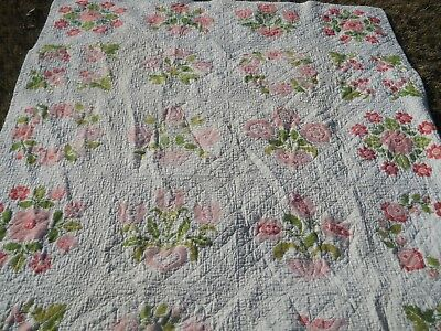 Beautiful Vintage Quilt Handstitched Embroiderery Cross Stitch