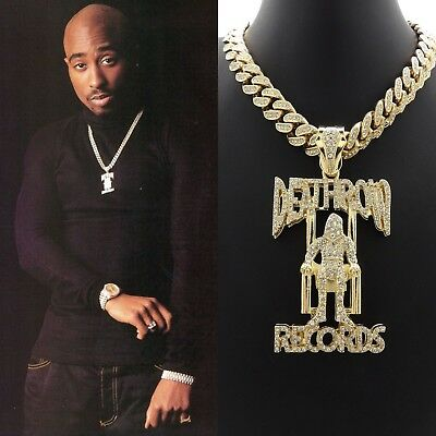 Tupac Shakur Death Row Pendant Gold Cuban Link Chain Necklace Hiphop 2Pac
