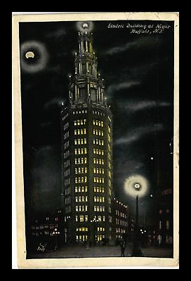 Dr Jim Stamps Us Electric Building At Night Buffalo New York View Postcard