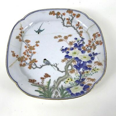 Antique Japanese Plate With Bird Flower Tree Blossom Decoration Signed