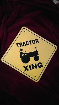 Tractor Crossing Sign Yellow with John Deere Parking Only & John Deere name plat