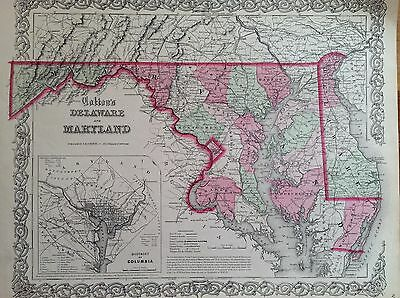 DELAWARE MARYLAND COLTON'S ATLAS incision origin. 1856 MAP UNITED STATES MAP