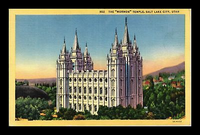 Dr Jim Stamps Us The Mormon Temple Salt Lake City Utah Linen View Postcard