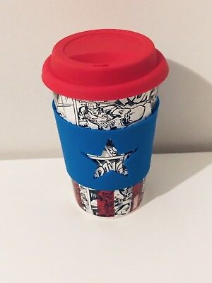 New Captain America Marvel Travel Mug Cup With Silicone Lid