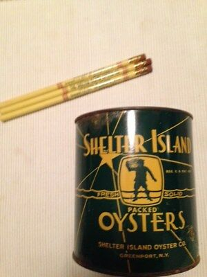 intage Shlter Island Oyster Can w/pencils