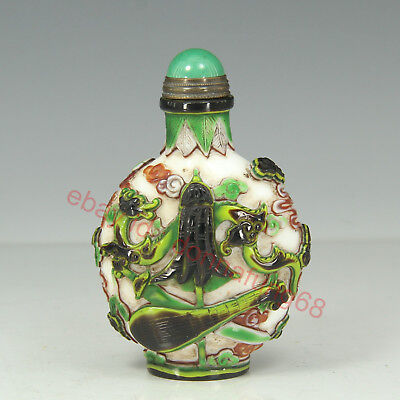 Chinese Exquisite Handmade Dragon Glass snuff bottle