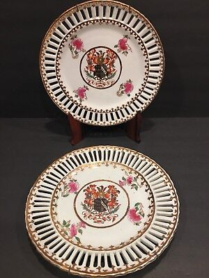 Pair Of Chinese Export Porcelain Rose Metallion Armorial Plates